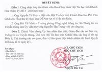 Quyết định của UNBD Tỉnh Khánh Hòa về việc thay đổi thành viên BCH Hội Tin Học tỉnh Khánh Hòa NK 2013-2018